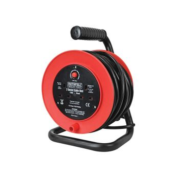 Faithfull Open Drum Cable Reel 240 Volt 15 Metre 13 Amp 2 Socket - FPPCR15
