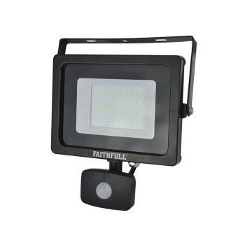 Faithfull SMD LED Security Light with PIR 30W 2400 Lumen 240V - FPPSLWM30S