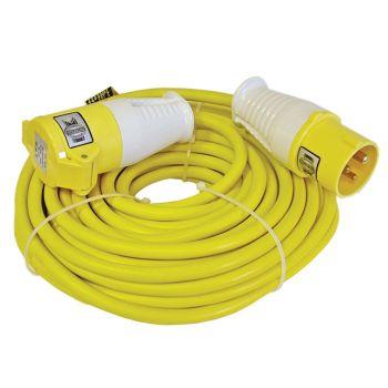 Faithfull Trailing Lead 14m 1750W 16 amp 2.5mm Cable 110V - FPPTL14HDUTY
