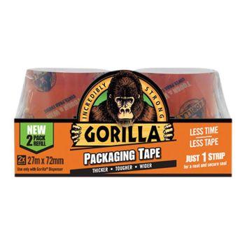 Gorilla Glue - Packaging Tape 72mm x 27m Refill Pack of 2 - GRGPKTAPE27