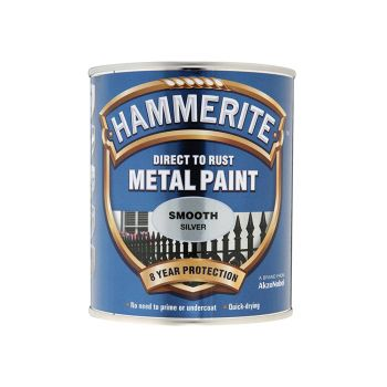 Hammerite Direct to Rust Smooth Finish Metal Paint Silver 250ml - HMMSFSI250
