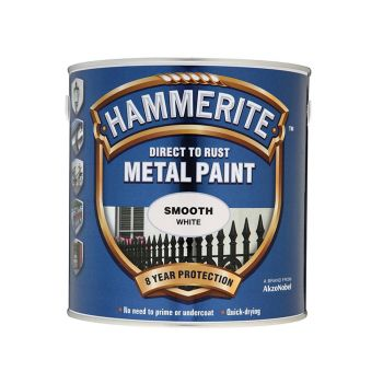 Hammerite Direct to Rust Smooth Finish Metal Paint White 2.5 Litre - HMMSFW25L