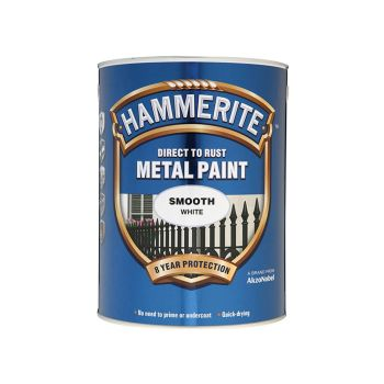 Hammerite Direct to Rust Smooth Finish Metal Paint White 5 Litre - HMMSFW5L
