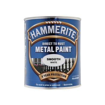 Hammerite Direct to Rust Smooth Finish Metal Paint White 750ml - HMMSFW750