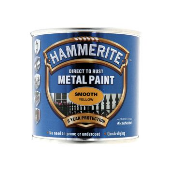 Hammerite Direct to Rust Smooth Finish Metal Paint Yellow 250ml - HMMSFY250