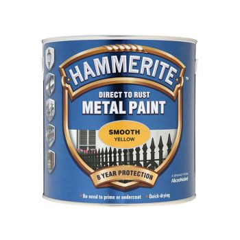 Hammerite Direct to Rust Smooth Finish Metal Paint Yellow 2.5 Litre - HMMSFY25L