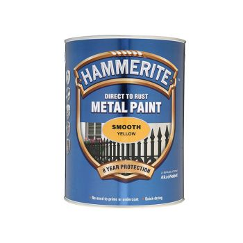 Hammerite Direct to Rust Smooth Finish Metal Paint Yellow 5 Litre - HMMSFY5L