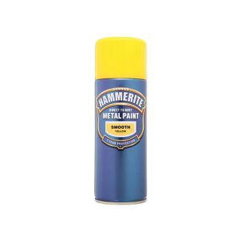 Hammerite Direct to Rust Smooth Finish Aerosol Yellow 400ml - HMMSFYAERO