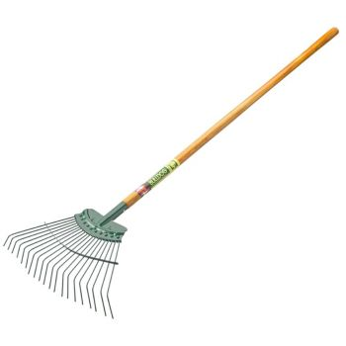 "Bulldog Springbok Lawn Rake 54"" - 20 Tines - Straight Hardwood Handle - 9128NL"