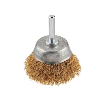 KWB Crimped Brass Wire Cup Brush 50mm Fine - KWB609110