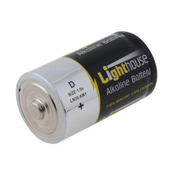 Lighthouse Alkaline Batteries D LR20 14800mAh Pack of 2 - L/HBATD