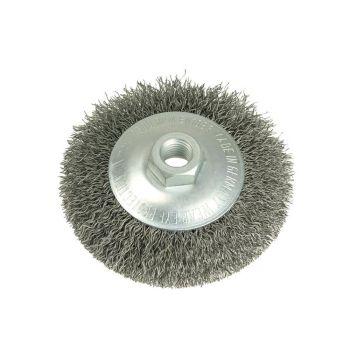Lessmann Conical Bevel Brush 100mm M14 Bore 0.35 Steel Wire - LES422177