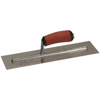"Marshalltown Stainless Steel Finishing Trowel 14"" x 4"" - Curved Durasoft Handle - MXS64SSD"