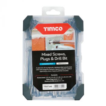 Timco Mixed Screws, Plugs & Drill Bit - A2 Stainless Steel - 91pcs