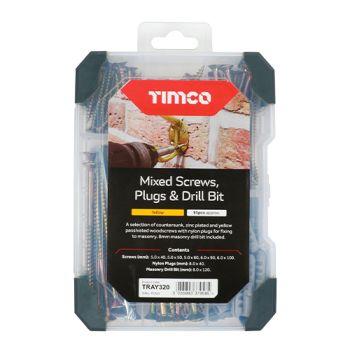 Timco Mixed Tray - Screws Plug Drill Bit - Yellow - 261pcs