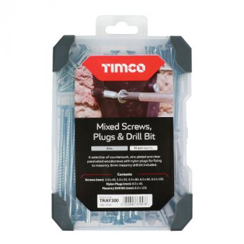 Timco Mixed Tray - Screws Plug Drill Bit - Zinc - 261pcs