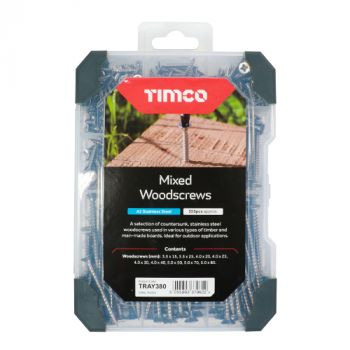 Timco Mixed Tray - Woodscrews - A2 Stainless Steel - 355pcs