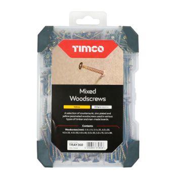 Timco Mixed Tray - Woodscrews - Yellow - 355pcs