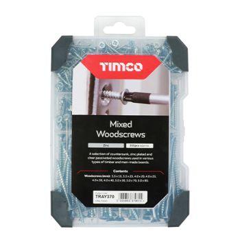 Timco Mixed Tray - Woodscrews - Zinc - 355pcs