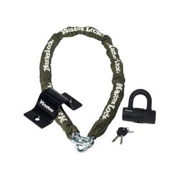 Master Lock Security Kit Mini D Lock Anchor & Chain 1.5m x 8mm - MLK8273E