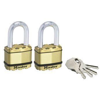 Master Lock Excell Brass Finish 50mm Padlock 4-Pin - 38mm Shackle Keyed Alike x 2 - MLKM5BTLF