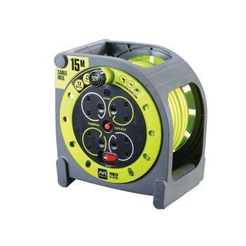 Masterplug PRO-XT Case Cable Reel 240V 15m 13A 4 Socket - MSTHMU15134