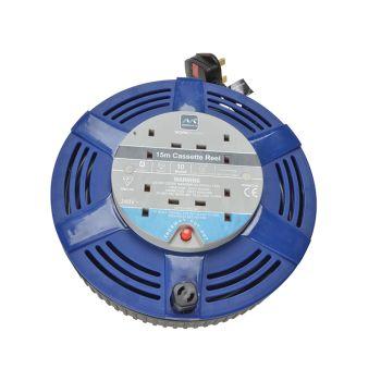 Masterplug Cassette Cable Reel 15 Metre 4 Socket Thermal Cut-Out Blue 10A 240 Volt - MSTLCT15104R