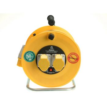 Masterplug Cable Reel 50 Metre 16A 110 Volt Thermal Cut-Out - MSTLVCT50162