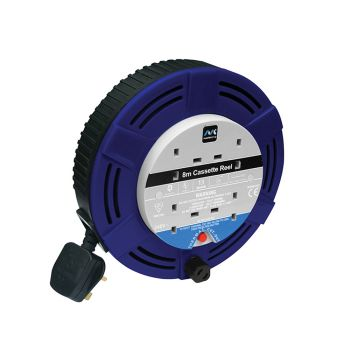 Masterplug Cassette Cable Reel 8 Metre 4 Socket Thermal Cut-Out Blue 13A 240 Volt - MSTMCT08134R