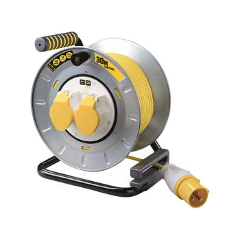 Masterplug Pro-XT Metal Cable Reel 30 Metre 16A 110 Volt Thermal Cut-Out - MSTOTMU30162