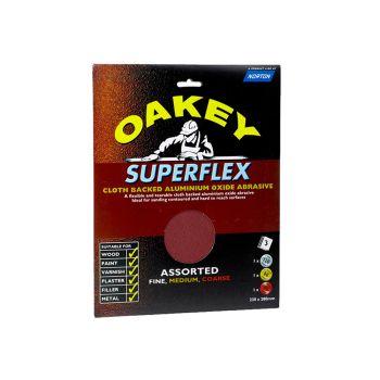 Oakey Cloth Backed Aluminium Oxide Sheets 230 x 280mm Assorted (3) - OAK26734