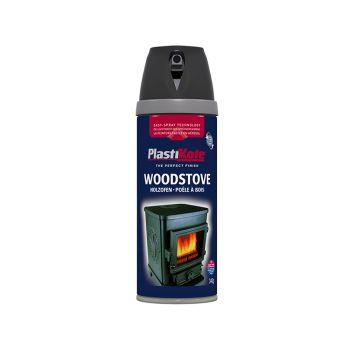 PlastiKote Twist & Spray Wood Stove Paint Black 400ml - PKT26030