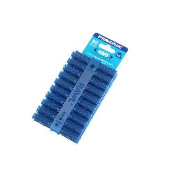 Rawlplug Blue Uno Plugs 8mm x 32mm Card of 80 - RAW68595