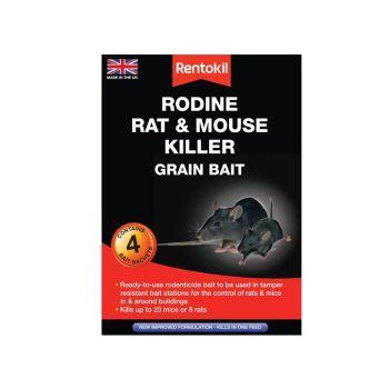 Rentokil Rodine Rat & Mouse Killer Grain Bait, 4 Sachets - RKLPSMR12