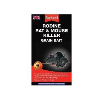 Rentokil Rodine Rat & Mouse Killer Grain Bait, 6 Sachets - RKLPSMR13