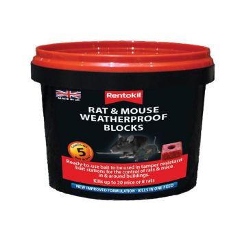 Rentokil Rat & Mouse Weatherproof Blocks, Tub of 5 - RKLPSMR41