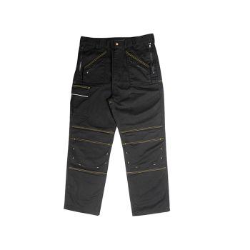 Roughneck Black Multi Zip Work Trouser Waist 34in Leg 33in - RNKMZT3433