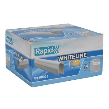Rapid 14mm DP x 5m White Staples Box 5 x 1000 - RPD3614W