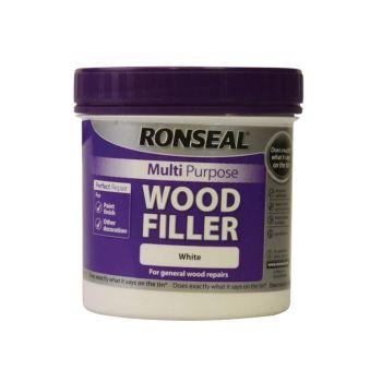 Ronseal Multi Purpose Wood Filler Tub White 465g - RSLMPWFW465