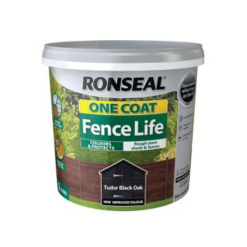 Ronseal One Coat Fence Life Tudor Black Oak 5 Litre - RSLOCFLTBO5L