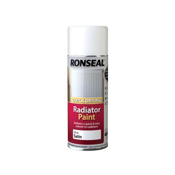 Ronseal One Coat Radiator Spray Paint, Satin White 400ml - RSLQDRSWS400