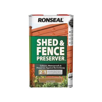 Ronseal Shed & Fence Preserver Light Brown 5 Litre - RSLSFLB5L