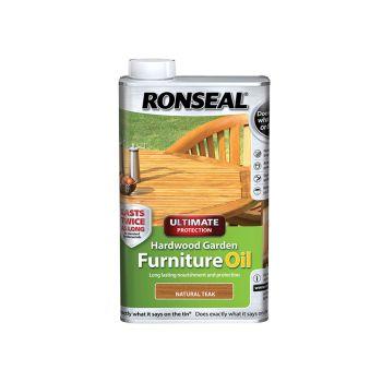 Ronseal Ultimate Protection Hardwood Garden Furniture Oil Natural Teak 1 Litre - RSLUHWGFOT1L