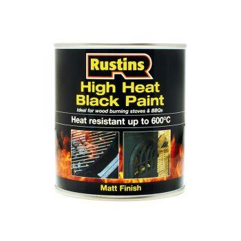 Rustins High Heat Paint 600°C Black 500ml - RUSH600BP500