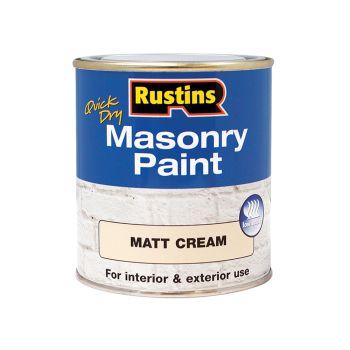 Rustins Quick Dry Masonry Paint Cream 500ml - RUSMASPC500
