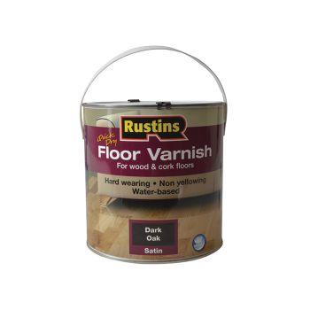 Rustins Quick Dry Coloured Floor Varnish Dark Oak 2.5 Litre - RUSQDCFVDO25