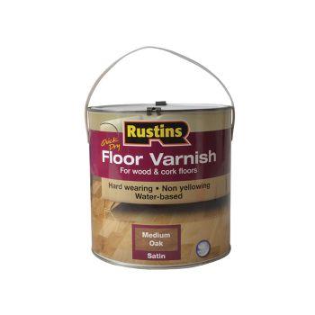 Rustins Quick Dry Coloured Floor Varnish Medium Oak 2.5 Litre - RUSQDCFVMO25