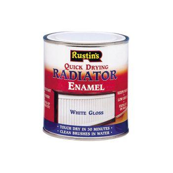 Rustins Quick Dry Radiator Enamel Paint, Gloss White 500ml - RUSQDREG500