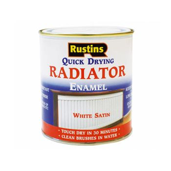 Rustins Quick Dry Radiator Enamel Paint, Satin White 250ml - RUSQDRES250