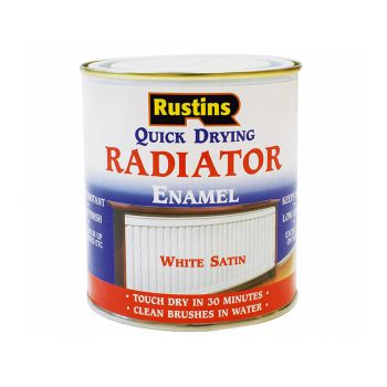 Rustins Quick Dry Radiator Enamel Paint, Satin White 500ml - RUSQDRES500